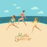 Hello summer Three Girls In Bikini On The Beach. Three Girls In Bikini Having Fun, Part Of Friends In Summer On The Beach Vector Illustrations Royalty Free Stock Photos