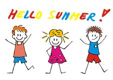 Hello summer, three happy kids, vector funny illustration Royalty Free Stock Photos