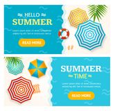 Hello Summer Time Banner Horizontal Set. Vector. Hello Summer Time Banner Horizontal Set Concept Season Tourism and Travel with a Beach Parasol. Vector stock illustration