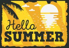 Hello Summer Time Design With Sunrise Above The Water And Palm Leaves Illustration. Vector Graphic Stock Photo