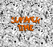 Hello summer time doodle hipster background Stock Photo