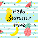 Hello Summer time poster, with fruits, watermelon,pineapple and geometric elements in memphis style background. vector. Hello Summer time poster. with fruits Stock Image