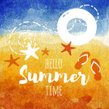 Hello summer time poster. Summer watercolor Illustration for beach holidays. Sunny beach with starfish, lifebuoy, fish. Hello summer poster. Summer watercolor Stock Image