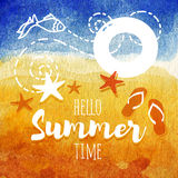 Hello summer time poster. Summer watercolor Illustration for beach holidays. Sunny beach with starfish, lifebuoy, fish. Hello summer poster. Summer watercolor Royalty Free Stock Photography