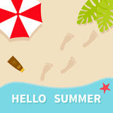 Hello summer. Top aerial view. Beach, sea ocean, sand, red umbrella, palm tree leaf, star fish, spf cream lotion, bare foot print. Greeting card. Summer time Stock Images