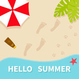 Hello summer. Top aerial view. Beach, sea ocean, sand, red umbrella, palm tree leaf. Star fish, spf cream lotion, bare foot print. Pawprint. Greeting card Stock Photography