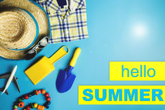 Hello Summer travel accessories and toys Royalty Free Stock Photography