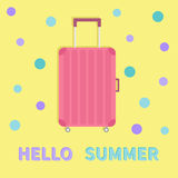 Hello summer. Travel bag suitcase baggage  Pink luggage handbag wheel handle. Summer vacation planning. Travelling tourism.  Royalty Free Stock Photography