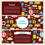 Hello Summer and Travel Concept Vector Template Banners Set in M Royalty Free Stock Images
