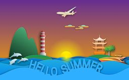 Hello summer travel illustration in paper cut style. Sunset, yacht, pagoda, lighthouse, islands, dolphins and aircraft.  stock illustration