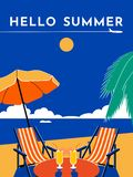 Hello Summer travel poster. Vector flat illustration royalty free stock images