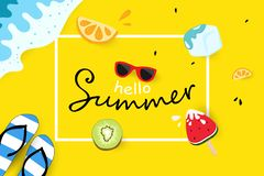 Hello summer, travel seasonal holiday vacation, greeting card, poster, sales tag advertisement, colorful background vector stock illustration