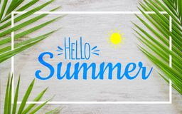 Hello summer travel vacation concept flat lay poster background concept. Hello Summer text on white wood background with green. Nature tropical palm leaf royalty free stock photography