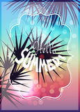 Hello summer tropical background with silhouettes of palm trees Stock Photos