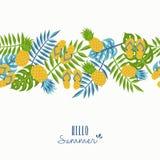 Hello summer tropical pineapple pattern design vector illustration