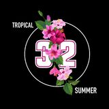 Hello Summer Tropical Poster. Floral Design with Purple Hibiscus Flowers for T-shirt, Fabric, Party, Banner, Flyer. Greetings. Vector illustration Royalty Free Stock Photos
