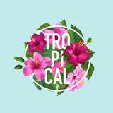 Hello Summer Tropical Poster. Floral Design with Purple Hibiscus Flowers for T-shirt, Fabric, Party, Banner, Flyer. Greetings. Vector illustration Royalty Free Stock Photo