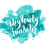 Hello summer turquoise colored hand lettering Stock Photo