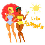 Hello Summer - two pretty girls in swimwear Royalty Free Stock Image