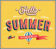 Hello summer typographic design. Stock Photography
