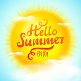 Hello summer, typographic inscription on 3D realistic sun. Vector Illustration Royalty Free Stock Photo