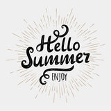 Hello summer, typographic inscription on vintage monochrome sun background. Vector illustration Stock Photos