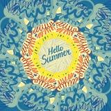 Hello summer typographic poster Stock Photos