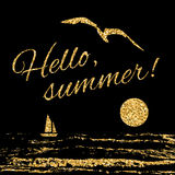 Hello summer Typography background sail Royalty Free Stock Photography