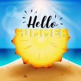 Hello summer typography on carved pineapple Royalty Free Stock Images