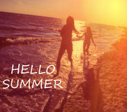 Hello summer typography Royalty Free Stock Image