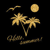 Hello summer Typography Graphic palm Royalty Free Stock Image