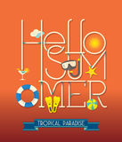Hello Summer Typography Illustration Royalty Free Stock Images