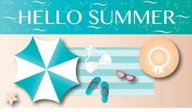 Hello summer vacation beach header or banner Royalty Free Stock Photo