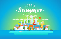 Hello summer vacation concept. Cityscape Stock Image