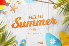 Hello summer vacation. Holiday motivational image with text Royalty Free Stock Images