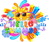 Hello Summer Vacation Message. Illustration of Hello Summer Vacation Message Vector Illustration