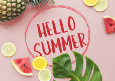 Hello Summer Vacation Message Sign Concept Stock Photos