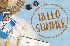 Hello Summer Vacation Message Sign Concept Royalty Free Stock Image