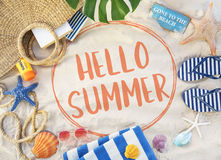 Hello Summer Vacation Message Sign Concept Stock Photo