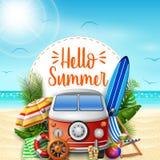 Hello summer. Summer vacations. Camper van on the beach. Illustration of Hello summer. Summer vacations. Camper van on the beach stock illustration