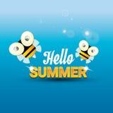 Hello summer vector background. funny cartoons bee Stock Image