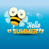 Hello summer vector background. funny cartoons bee Royalty Free Stock Image