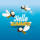 Hello summer vector background. funny cartoons bee Stock Images