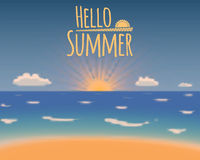 Hello summer vector background. Summer vacation beach paradise. Royalty Free Stock Photo