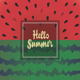 Hello summer vector background with watermelon. Stock Images