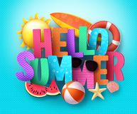 Hello Summer vector banner greeting design with 3D text typography Royalty Free Stock Image