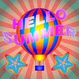 Hello Summer Vector Banner. Travel agency advertisement. Summer vacation hot deals flyer template. Hot air balloon flight and diving offers. Vector illustration Stock Photos