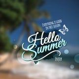 Hello Summer Vector blurred background. Hello Summer message. Vector abstract blurred background stock illustration
