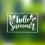 Hello Summer vector illustration,background. Fun quote logo,label. Hand lettering inspirational typography poster,banner Royalty Free Stock Photography