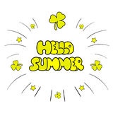 Hello Summer vector illustration, background. Sketchy hand drawn Royalty Free Stock Photo
